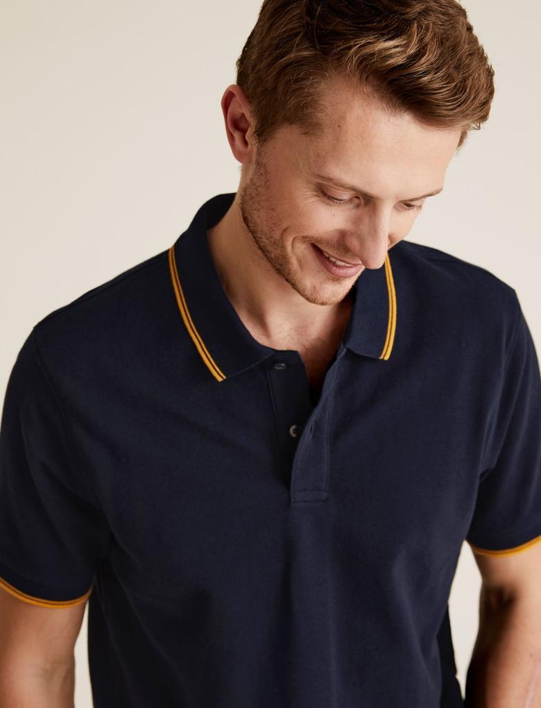 Erkek Lacivert Saf Pamuklu Polo Tişört
