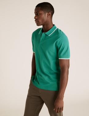 Yeşil Saf Pamuklu Polo Tişört