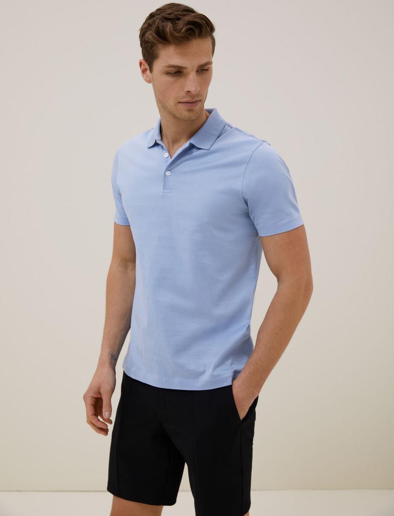 Erkek Mavi Premium Polo Yaka T-shirt