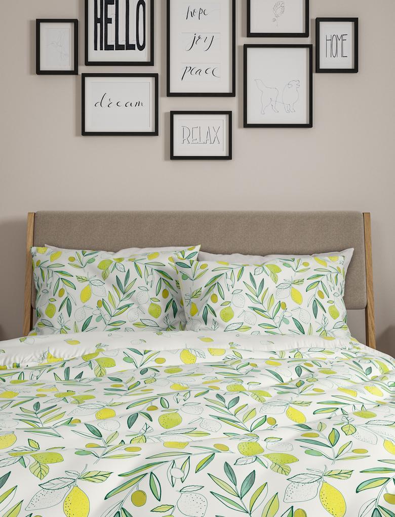 Ev Beyaz Saf Pamuklu Limon Desenli Nevresim Seti