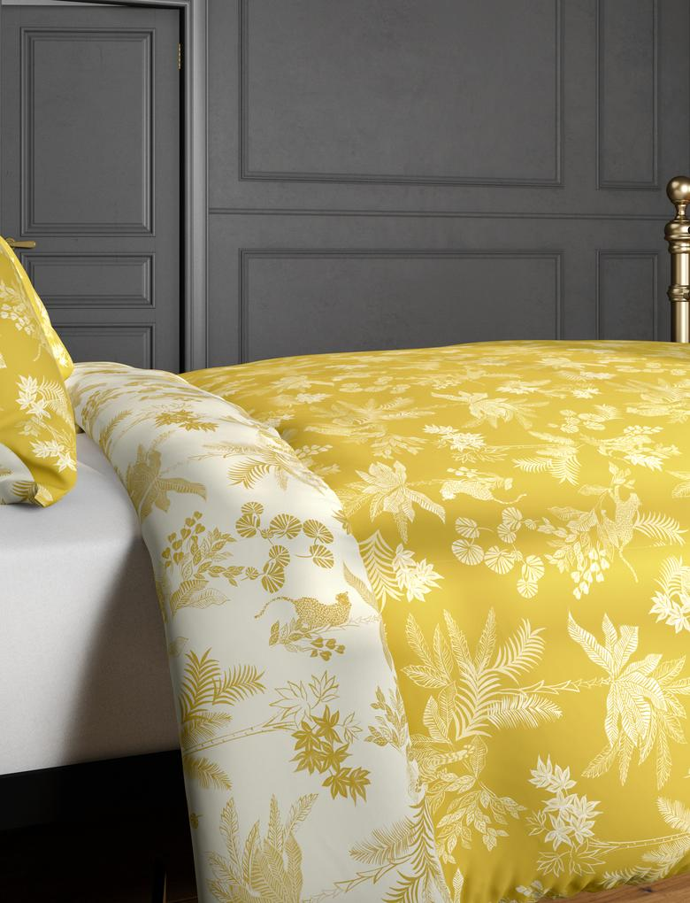 Ev Sarı Saf Pamuklu Çita Desenli Nevresim Seti