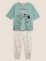 Kadın Mavi Pamuklu Disney 101 Dalmaçyalı Pijama Takımı