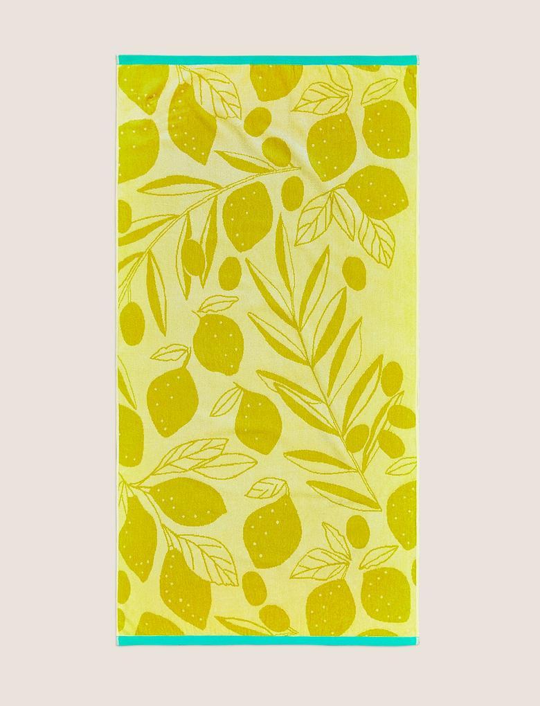 Ev Sarı Pamuklu Limon Desenli Plaj Havlusu