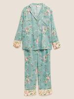 Kadın Mavi Çiçek Desenli Pijama Takımı