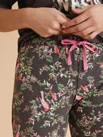 Kadın Gri Saf Pamuklu Slogan Pijama Takımı