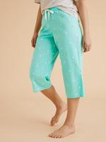 Kadın Yeşil Pamuklu Desenli Kısa Crop Pijama Altı