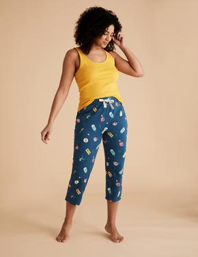 Kadın Lacivert Pamuklu Desenli Kısa Crop Pijama Altı