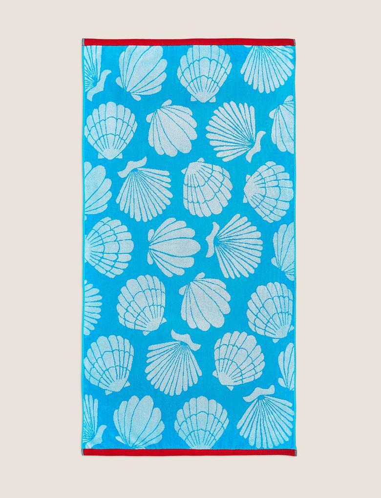 Ev Mavi Pamuklu Deniz Kabuğu Desenli Plaj Havlusu