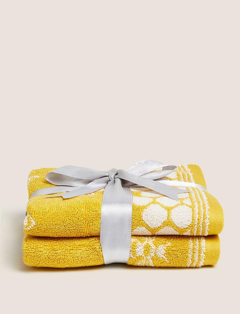 Ev Sarı 2'li Pamuklu Arı Desenli Havlu