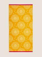 Ev Sarı Pamuklu Güneş Desenli Plaj Havlusu