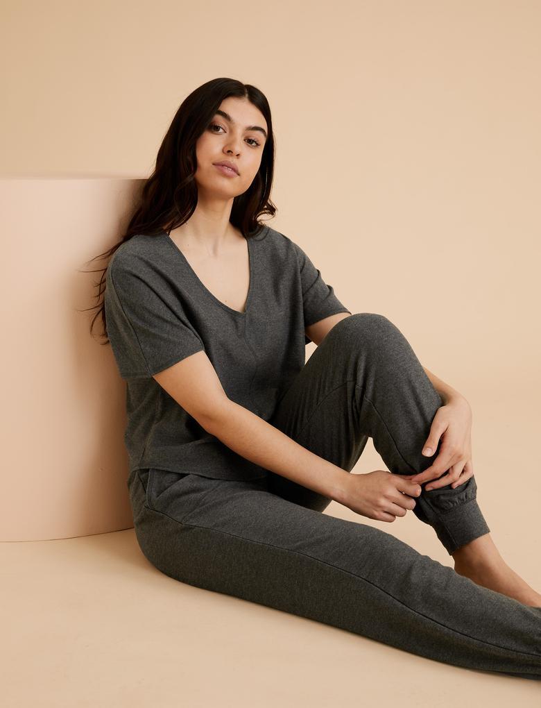 Kadın Gri Flexifit Pijama Üstü