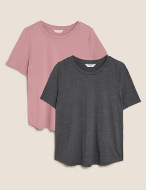 Kadın Pembe 2'li Modal Karışımlı Pamuklu Uyku Tişörtü