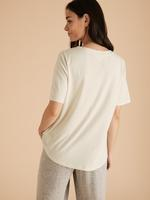 Kadın Krem 2'li Modal Karışımlı Pamuklu Uyku Tişörtü