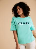 Kadın Yeşil Saf Pamuklu Slogan Pijama Üstü