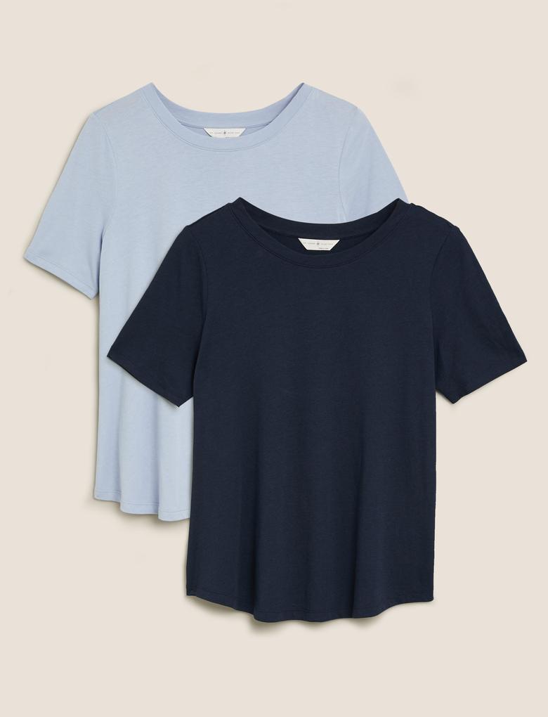 Kadın Mavi 2'li Modal Karışımlı Pamuklu Uyku Tişörtü