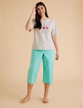 Kadın Gri Saf Pamuklu Slogan Pijama Üstü