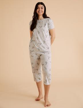 Kadın Gri Köpek Desenli Crop Pijama Takımı