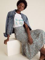 Kadın Yeşil Pamuklu Slogan Düz Kesim T-shirt