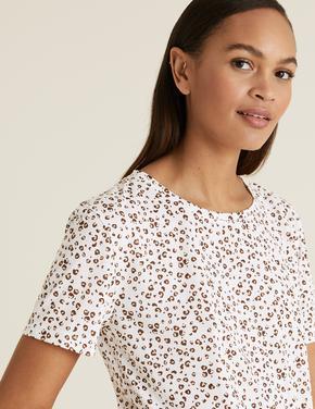 Kadın Beyaz Baskılı Bisiklet Yaka Rahat T-Shirt