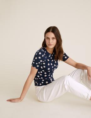 Kadın Mavi Pamuklu Çiçekli Regular Fit T-Shirt