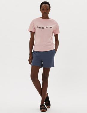 Kadın Pembe Pamuklu Slogan Tişört