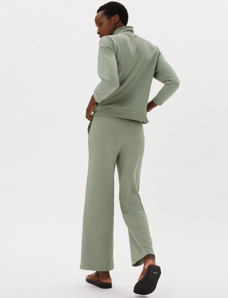 Kadın Yeşil Pamuklu Yüksek Yaka Fermuarlı Sweatshirt