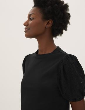 Kadın Siyah Pamuklu Dokulu Kısa Kollu Üst