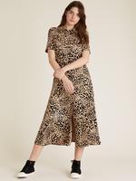Kadın Bej Desenli Midi Gömlek Elbise