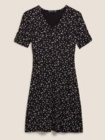 Kadın Siyah V Yaka Mini Elbise