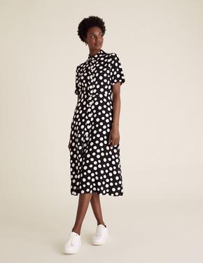 Siyah Puantiyeli Midi Gömlek Elbise