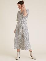 Kadın Krem Baskılı Kuşaklı Midi Gömlek Elbise