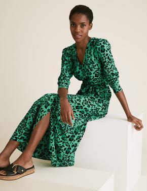Yeşil Desenli V Yaka Kemerli Midi Elbise