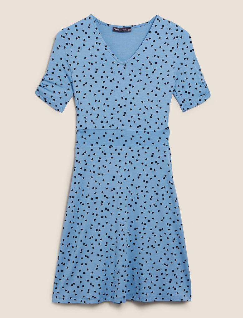 Kadın Mavi Jersey Puantiyeli V Yaka Mini Patenci Elbisesi