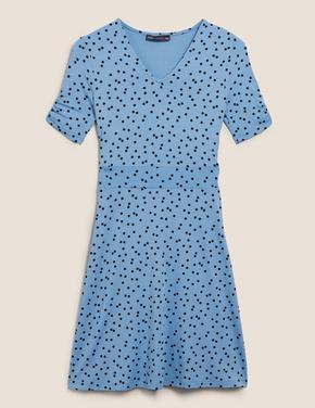 Mavi Jersey Puantiyeli V Yaka Mini Patenci Elbisesi