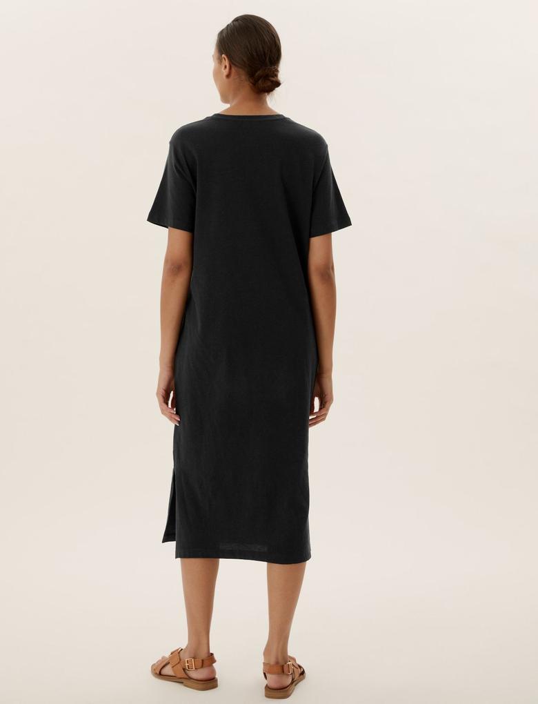 Kadın Siyah Pamuklu Yuvarlak Yaka Midi T-Shirt Elbise
