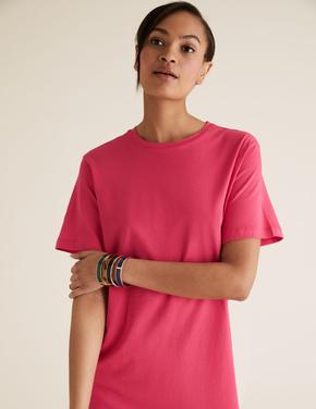 Kadın Pembe Pamuklu Yuvarlak Yaka Midi T-Shirt Elbise