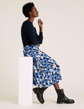 Kadın Mavi Çiçekli Midi Etek