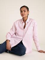 Kadın Pembe Pamuklu Çizgili Oversize Gömlek
