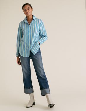 Kadın Multi Renk Pamuklu Çizgili Oversize Gömlek