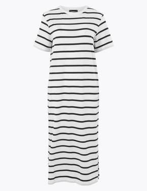 Kadın Beyaz Pamuklu Çizgili Midi T-Shirt Elbise