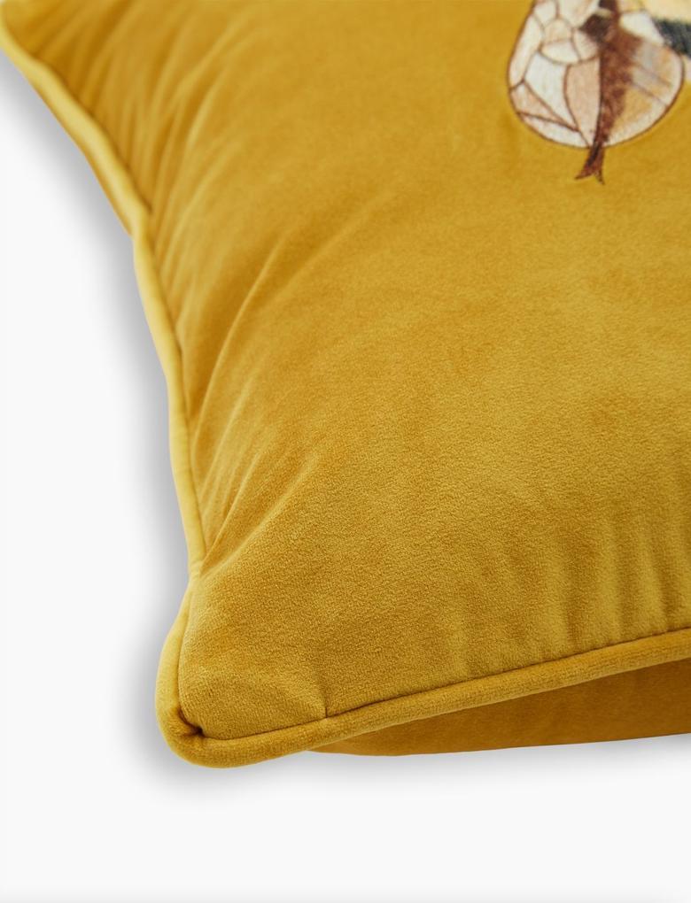 Ev Sarı Kadife Arı Desenli Dekoratif Yastık