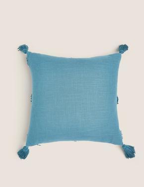 Ev Mavi Pamuklu Dekoratif Yastık