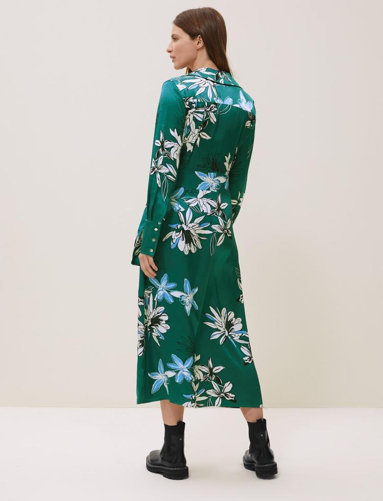 Yeşil Çiçekli V Yaka Midi Elbise