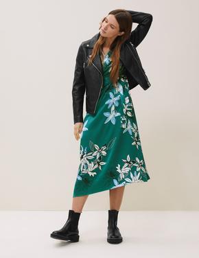 Kadın Yeşil Çiçekli V Yaka Midi Elbise