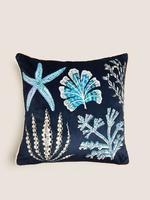 Ev Lacivert Mercan Desenli Dekoratif Yastık