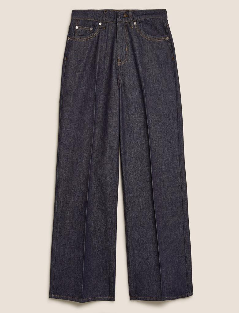 Lacivert Yüksek Bel Geniş Paça Jean Pantolon