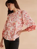 Kadın Krem Dantelli Çiçekli Bluz