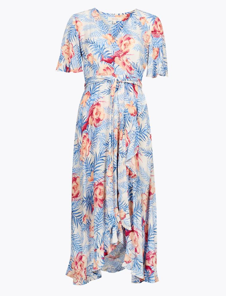 Kadın Krem Çiçekli V Yaka Midi Anvelop Elbise