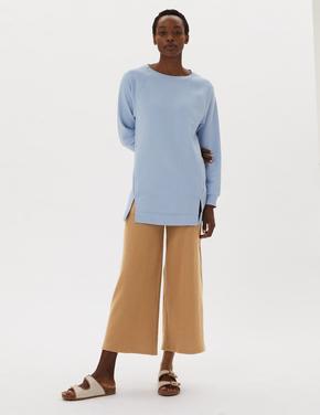 Kadın Kahverengi Dokulu Geniş Paçalı Grazer Pantolon