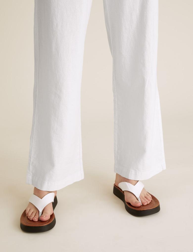 Kadın Beyaz Keten Geniş Paça Pantolon